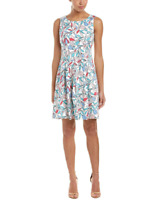 Nine West Women's NWT Stained Glass Floral Fit & Flare Dress W/Pleated Bottom S4