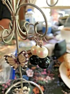 Sterling Silver pearl and onyx earrings