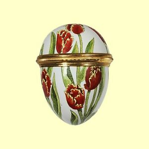 VINTAGE HALCYON DAYS HINGED EGG BOX ENAMEL OVER COPPER RED AND YELLOW TULIPS EUC