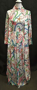 Vintage Neiman-Marcus White Sea Pattern Long Sleeve Dress With Belt Size 6