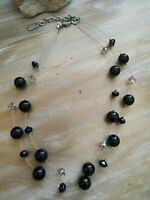 vintage Kissaka faux glass pearls black necklace