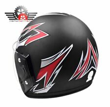 CNCD Half Face Extra Passenger Helmet - BLACK/RED (LARGE)
