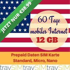 12 GB Prepaid 3UK Daten SIM Karte 3G für die USA 60 Tage Standard Micro Nano