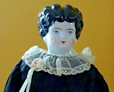 """Antique CHINA SHOULDER HEAD DOLL Leather Body Sawdust Fill 18"""" Original Clothes"""