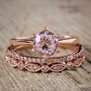 Round morganite bridal ring Set  Stacking band 14k Rose Gold Finish Over Silver