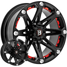 "5-22"" Inch Ballistic 814 Jester 22x9.5 5x127(5x5"") -12mm Flat Black Wheels Rims"
