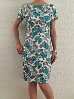 Sexy Women's Floral Green Grey Short Sleeve Evening Party Dress Size 8-10-12-14