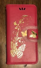 Gold Butterfly printing Wallet Leather Flip Case Cover For Motorola Mobile Phone