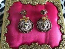 Betsey Johnson Vintage Zoo Lovers Pink Cameo Cougar Panther Cat Earrings RARE