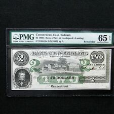 $2 1860s Connecticut, East Haddam PMG 65 EPQ, Remainder Obsolete Banknote