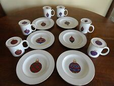 Gibson CHRISTMAS ORNAMENT Mug Dessert Plate Coaster Complete Set 18 West Cliff
