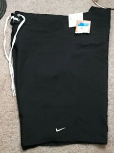 NWT! NIKE SWIM-Black Perform.Poly Cloth, Mens Summer Board Shorts-(XL)