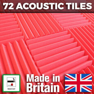 72 Red Acoustic Foam Tiles Studio Sound Treatment Panels For Podcasts Streamers
