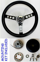 New! 1969-1994 Camaro Grant Black and Chrome Steering Wheel 13 1/2 with horn kit