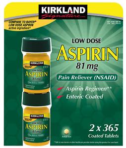 Kirkland Signature Low Dose Aspirin 81mg 730 Tablets 365 Count (2 Pack) EXP12/23