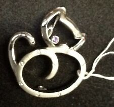 STERLING SILVER CAT BROOCH PIN WITH CUBICS AND AMETHYST NWT