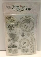Crafty Secrets Clear Art Stamps BABY GIRL Shoes Stroller Acrylic Rubber Stamps