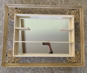 Turner Wall Mirror Shadow Box Frame Shelf Gold Cream Retro 1960s Mid Century