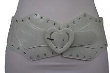 Sexy Women Wide Stretch Waistband Belt Hip Waist White Love Heart Buckle M L XL