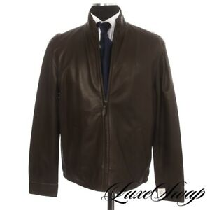 NWT #1 MENSWEAR Polo Ralph Lauren Brown Nappa Leather Blackwatch Cafe Coat L NR