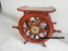Nautical Marine Teak Wood Boat Wheel Steering Ship Wheel 18'' Side Coffee Table