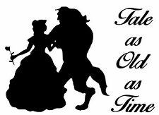 CUT VINYL WALL ART STICKER BEAUTY AND THE BEAST TALE AS OLD AS TIME, CRAFTS ETC.