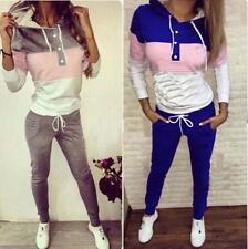 Womens 2Ps Tracksuit Hoodies Sweatshirt Pants Sets Ladies Sport Wear Casual Suit