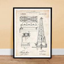 "HOWARD HUGHES OIL DRILLING RIG INVENTION 18x24"" PATENT ART POSTER 1916 unframed"