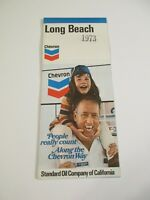 Stamped 1973 Chevron Long Beach California Street Gas Station Road Map~Box J