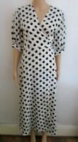 NWT WHITE/BLACK SPOT WRAP DRESS SIZE MEDIUM 12/14