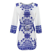 UK  Ladies Beach Evening Party Dress Womens Summer Floral Long Sleeve Boho Dress