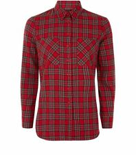 New Look Casual Red Tartan Check Flannel Shirt Long Sleeve Cotton Casual Fit