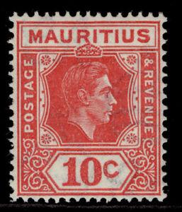 MAURITIUS GVI SG256c, 10c pale reddish rose, LH MINT. Cat £42. PERF 15 X 14