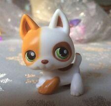 Littlest Pet Shop LPS White Tan GERMAN SHEPHERD #127 Green Dot Eyes Dog Hasbro