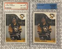 1985-86 Topps & OPC #9 Mario Lemieux Penguins RC Rookie HOF PSA 8 (2 Card Lot)