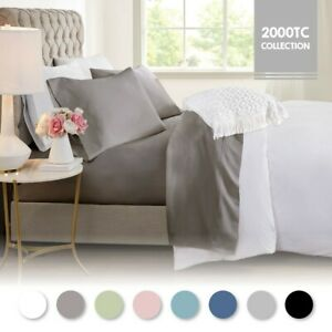 2000TC Cooling Bamboo Breath Single/KS/Double/Queen/King Fitted, Flat  Sheet Set