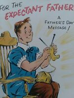 MCM Vtg EXPECTANT FATHER Day NORCROSS CIGAR Multi Pg Retro 50s GREETING CARD