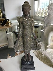 Stehender Buddha handbemalte Polyresinfigur Skulptur Figur H63 cm