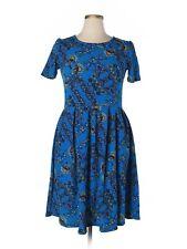 Women Lularoe Bright Royal Blue Flower Ameilia Fit & Flare Dress Size XL