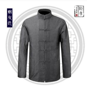 Men's Chinese Tang Suit Cotton Traditional Coat Clothing Kung Fu Tai Chi Uniform