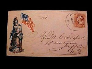 Civil War NY 1861 STAMPED Patriotic POSTAL COVER ENVELOPE FLAG, Lady Liberty !!!