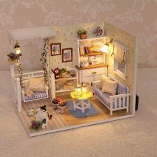 DIY Romantic Summer Doll House LED Dollhouse Cabin Miniature Kit Christmas Gift