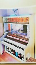 Vintaged 1970s Conn Piano Bar Remote  LED Lights Wine And Wine Glasses