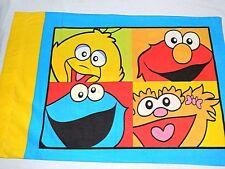 2004 Sesame Street standard Pillowcase ELMO ZOE Big Bird & Cookie Monster fabric