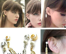 gold tone FEATHER EAR CUFF CLIP WRAP EARRING GOTH pUNK ROCK GIFT STUD HOOK