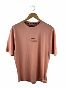 Mossimo Short Sleeve Logo T Shirt Mens Size S Pink Crew Neck Casual
