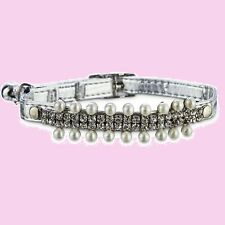 "Bond & Co Cat Safety Stretch Collar Silver""Rhinestone&#0 34;Pearl""Precious Metal""Bell"