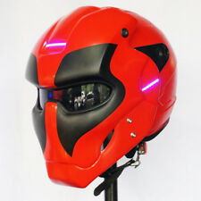 THE DEADPOOL HELMET MATT BLACK RED MOTORCYCLE ABS CUSTOM AIRBRUSH LAMP Size: L