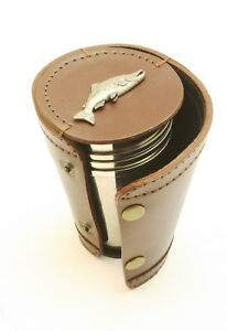 Salmon Fishing 4 Stacking Stirrup Shot Cups in Leather Case NEW 310