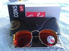 Ray Ban Round RB3447 112/4D  POLARIZED Matte Gold / Orange Flash Mirror 50mm